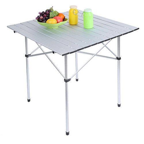 Portable Folding Picnic Table Roll up Aluminum Outdoor BBQ