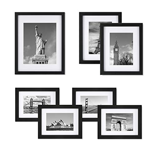 ONE WALL Tempered Glass Picture Frame Set of 7, Multi Pack Black Photo Frames for Wall or Tabletop Display, Gallery Wall Art Kit 1pcs 11x14, 2pcs 8x10, 4pcs 6x8 with ()
