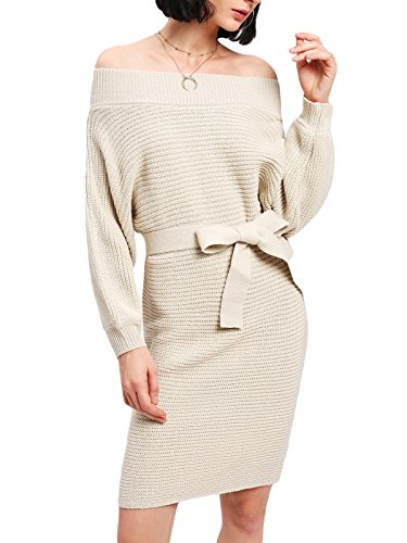 MAYSIKA Women's Balloon Sleeve Off Shoulder Bow Knitted Sheath Sweater Dress - Beige One-Size