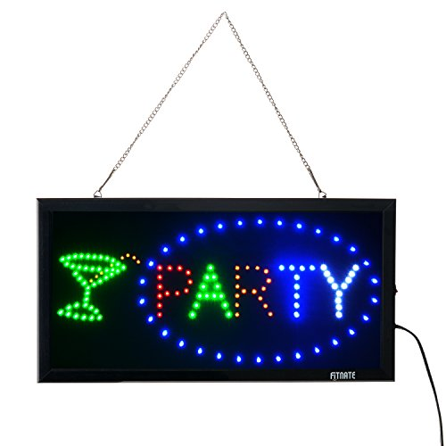 - Party Sign, Fitnate LED Neon Party Sign Bright Advertising Board Electric Lighted Display Sign - Two Modes Flashing & Steady Light for Wedding, Holiday, Family Reunion, Business, Window, Bar, Hotel