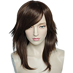 Namecute Brown Wigs Long Synthetic Layered Wig Heat Resistant Synthetic Hairpiece Side Bangs, Free Wig Cap