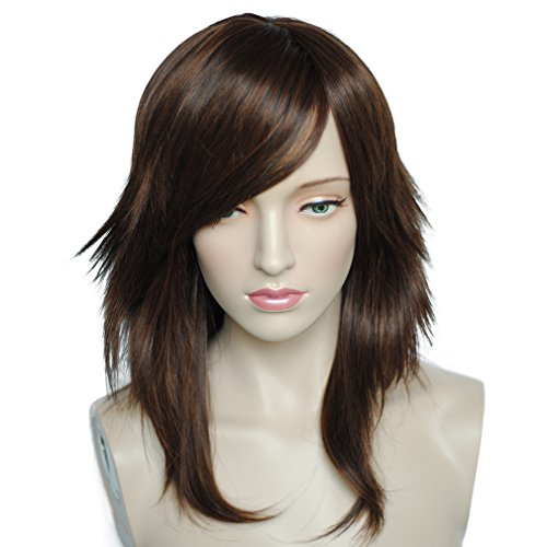 Namecute Curly Wig Brown Mix Black Synthetic Wigs Side Bangs for Women+Free Wig Cap (Brown Braided Wig)