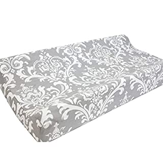 Sahaler Baby Changing Pad Cover Original Cotton Changing Table Pad Diaper Liners Baby Changing Table Cover - Floral On Grey