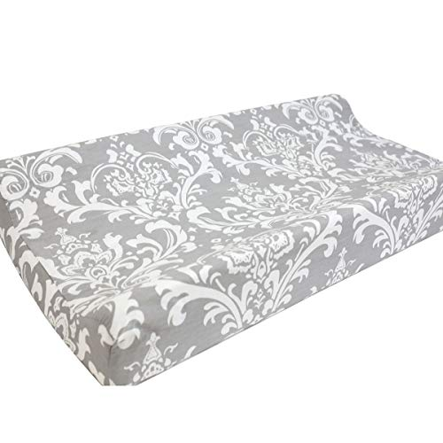 Sahaler Baby Changing Pad Cover Original Cotton Changing Table Pad Diaper Liners Baby Changing Table Cover – Floral On Grey