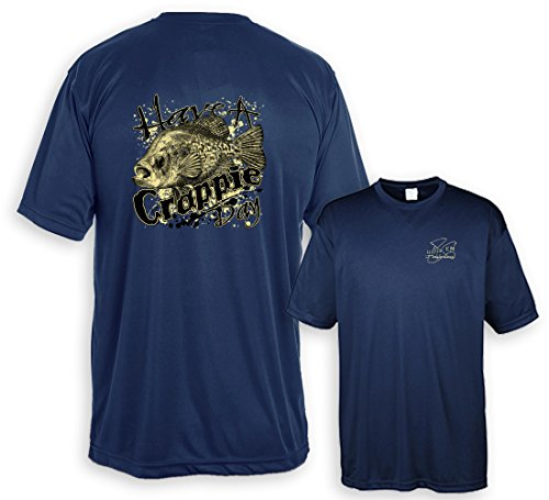 Fair Game UV Performance Shirt Have A Crappie Day-Navy-Medium Crappie Chart