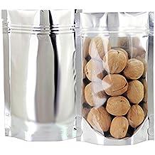 "GooGou Resealable Zip Mylar Bag Food Storage Aluminum Foil Bags Smell Proof Pouches 3.9x5.9"" 100pcs"
