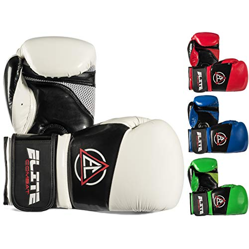 Elite Combat Boxing Kickboxing Gloves (Pro Style) Adult and Youth Fight Gear | Sparring, Training, and Heavy Bag Use | Adjustable Hook and Loop Wrist | Strong PU Leather