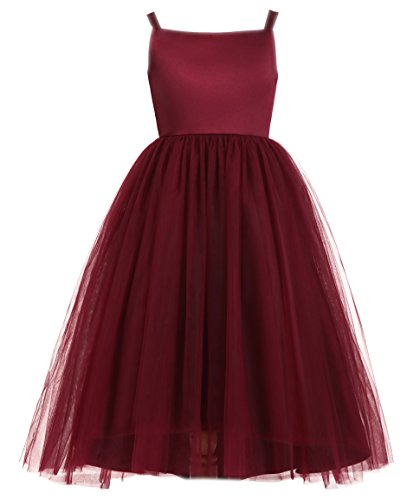 Joanna Girl's Tulle Long Flower Girl Dress HT021 Burgundy US6