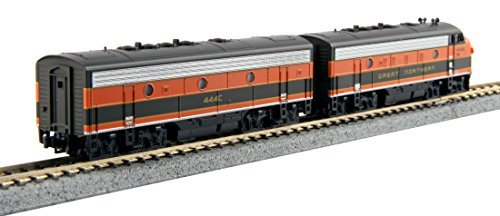 EMD F7 A-B SET - STANDARD DC -- GREAT NORTHERN #444D, 444C (OMAHA ORANGE, GREEN)