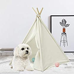 "UKadou Upgrade Pet Teepee Dog Bed, Machine Washable Pet Tent House with Bottom for Dogs (Puppy), Cats, Rabbits, Super Cute 24"" Teepee(White)"