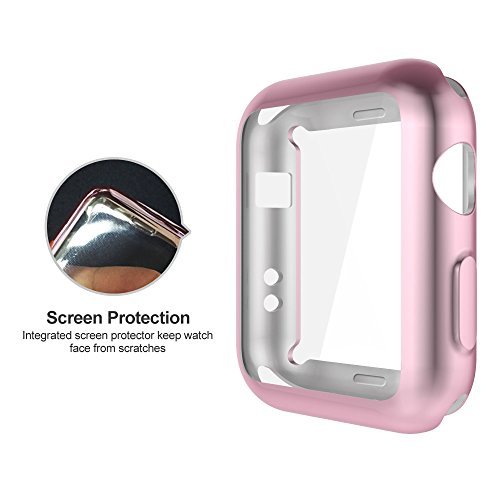 Apple Watch 3/2 Screen Protector 38mm, UMTELE Plated TPU Case Integrated Screen Protector Slim Lightweight Protective Bumper Cover for Apple Watch Series 3 2 Rose Gold Photo #2