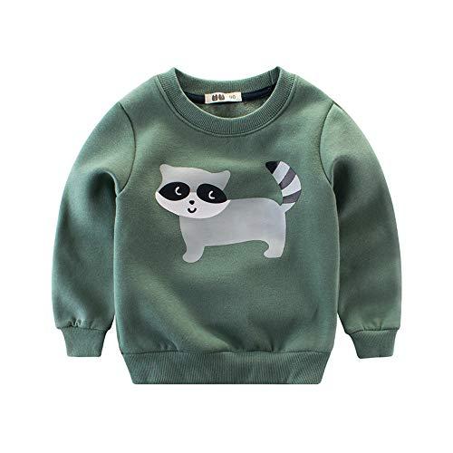 AutumnFall 2018 Baby Girls Boys Sweatshirts Winter Spring Autumn Child Cartoon Animals Long Sleeves Warm Tops Kids T-Shirt Clothes (Age:6-7 Years, Green)