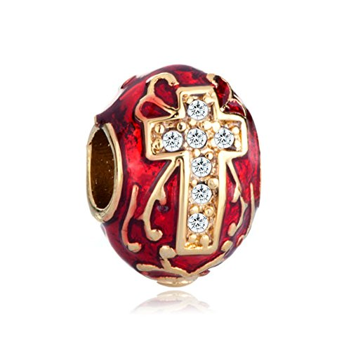CandyCharms Red Celtic Claddagh Irish Cross Faberge Egg Charms Beads For (Red Celtic Cross)