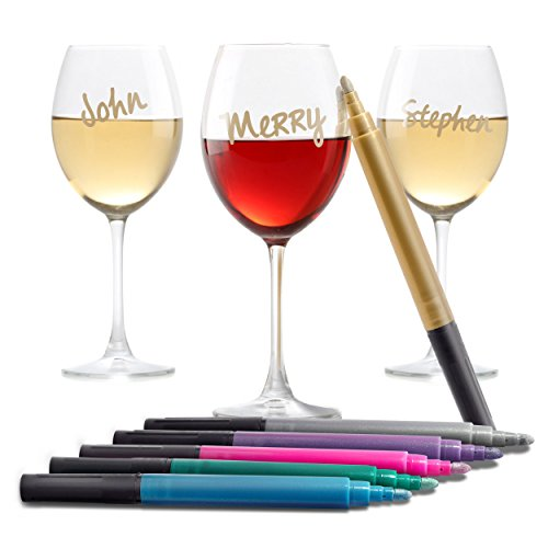 Vino Amore Metallic Wine Glass Pens 6-Pack (Christmas Photos Chalk Art)