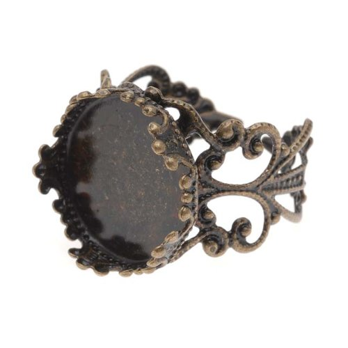 Beadaholique Filigree Adjustable Ring with Round Bezel, 16.5mm, Antiqued Brass