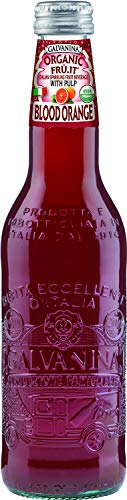 Galvanina - Blood Orange With Pulp - Premium Organic Italian Sparkling Fruit Beverage - 12 fl oz (12 Glass Bottles)
