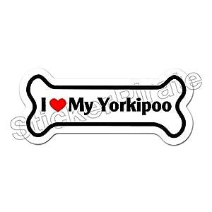 Dog Bone Magnet I Love My Yorkipoo Car Truck Locker Magnet 13