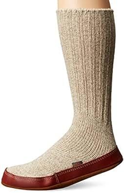 ACORN Unisex Slipper Sock, Light Gray Ragg Wool, L