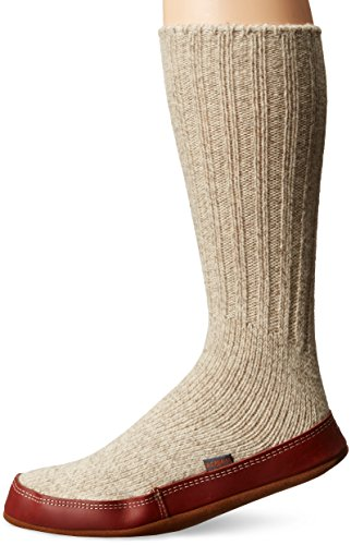 ACORN Unisex Slipper Sock, Light Gray Ragg Wool, XXL
