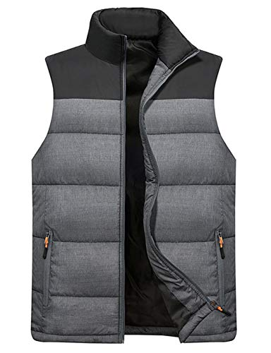 Vcansion Men's Outdoor Casual Stand Collar Padded Vest Lightweight Down Cotton Jacket Coat Vest Black+LightGray M
