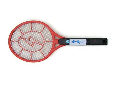 Zap Racket The Original Large Handheld Lightweight Electronic No Batteries Needed Rechargeable Bug Fly Mosquito Zapper Racket with a Detachable Power Cord for Indoor or Outdoor Use (Colors May Vary)