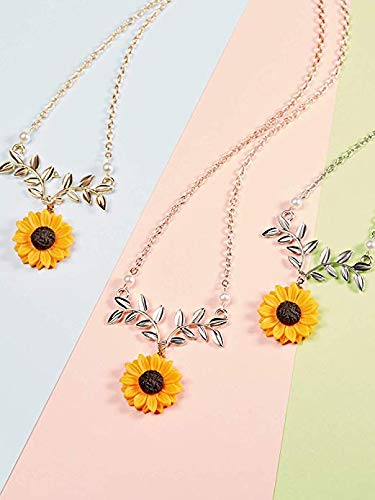 Alloy TREESTAR Creative Fashion Sunflower Necklace Leafy Flower Pendant Sweater Chain Female Long Necklace for Girlfriend Elegant Lady Jewelry