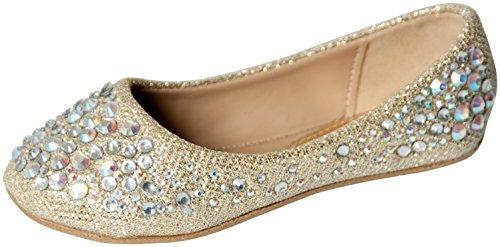 Studded Flat Ballerina - Link Forever Girls Rhinestone Studded Slip On Ballet Flats Champagne 3M Little Kid