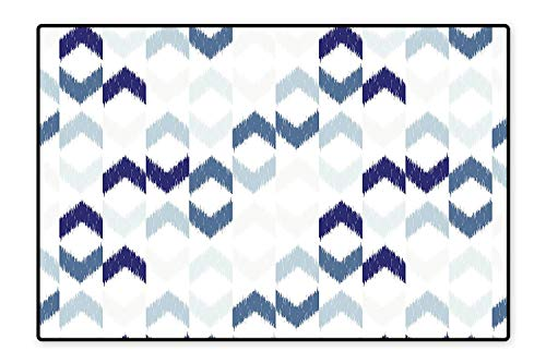 Ethnic Trimmer - Area Rug Abstract Ethnic Ikat Chevron with Hazy Zigzag Folk Traditional Image Slate Blue Grey Indigo White for Living Room, Bedroom, and Dining Room 5'8