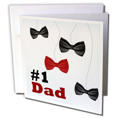 Anne Marie Baugh - Fathers Day - Number 1 Dad With Dangling Red and Black Bow Ties - 12 Greeting Cards with envelopes (gc_235960_2) - Dangling Bow