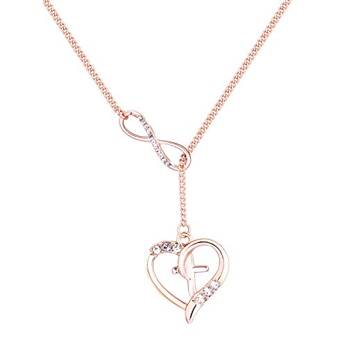 MAOFAED Rose Gold Cross in Heart Infinity Lariat Necklace Rhinestone Necklace with Long Chain (Rose Gold Lariat Necklace) ()
