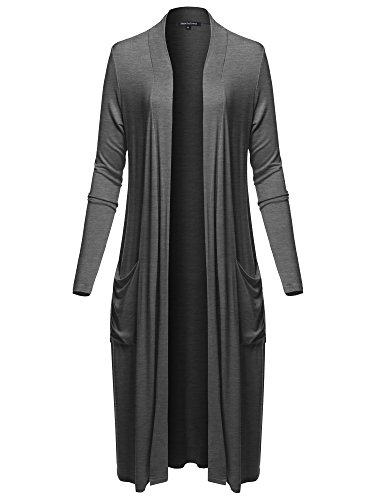 Long Sleeve Side Pockets Midi Length Open Front Cardigan Charcoal Grey M