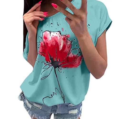 Women T-Shirt Casual Floral Print Blouse Short Sleeve O Neck Loose Top T-Shirt Green