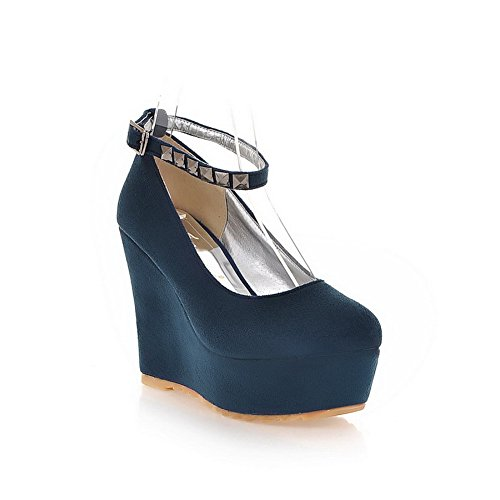 AllhqFashion Mujer Esmerilado PU Hebilla Tacón Alto Puntera Redonda ZapatosdeTacón Azul