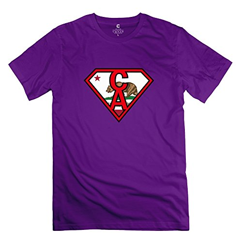 FQZX Men's Super CA Flag T Shirt X-Small Purple (Free Text And Ca compare prices)