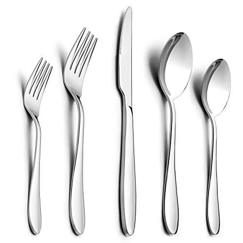 30-Piece Silverware Set, HaWare Stainless Steel Modern Elegant Flatware Cutlery Set, Service for 6, Dinner Knives/Spoons/Forks, Mirror Polished, Dishwasher Safe