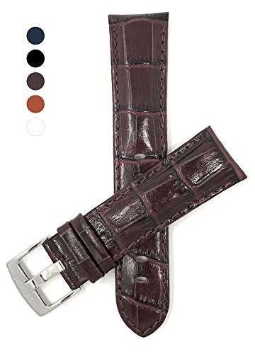 Mens' Alligator Style Genuine Leather Watch Band Strap, Available Band Widths 18mm, 20mm, 22mm, 24mm, 26mm, 28mm, 30mm (All sizes come in XL also), Comes in Black, White, Royal Blue, - Mens Fossil Brown Strap