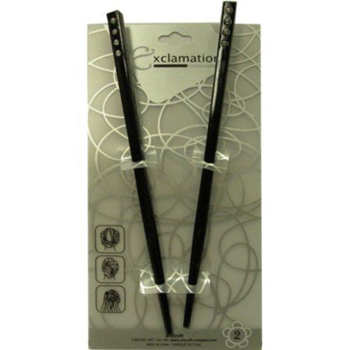 Brown and Black Hair Sticks with Diamonds (4 Sticks)