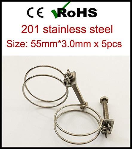 (Ochoos 55mm3.0mm x 5pcs Stainless Steel Hose clamp Double Wire Hose clamp Wire Hoop clamp Pipe clamp Factory Engineering)