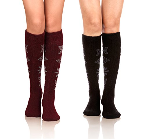 DoSmart Women's Winter Warm Knee High Socks Boot Socks 2-Pairs Multi Color(AA-03) from DoSmart