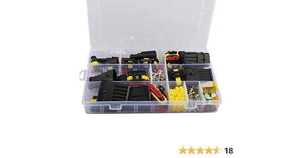 Kinstecks 700PCS 2.8mm Kit de conectores automotrices 2 3 4 6 9 pines Kit de conectores de cables el/éctricos automotrices con 30 juegos de conectores de terminal de bala de 3.9 mm
