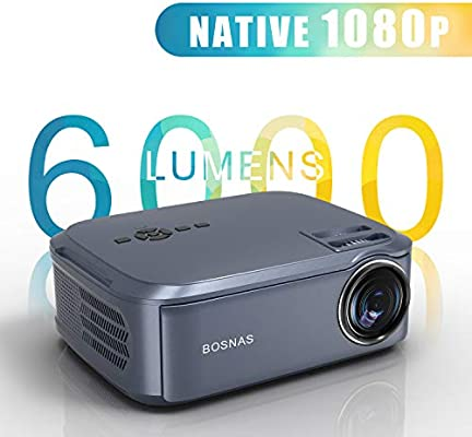Proyector Cine en Casa, Native 1080P LED Video Proyector Full HD con 6000 Lúmenes, Proyector Pantalla de 300 Pulgadas, Altavoces Estéreo HiFi ...