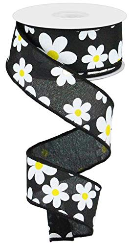 Daisy Flower Canvas Wired Edge Ribbon, 10 Yards (Black, - Yellow White Ribbon And