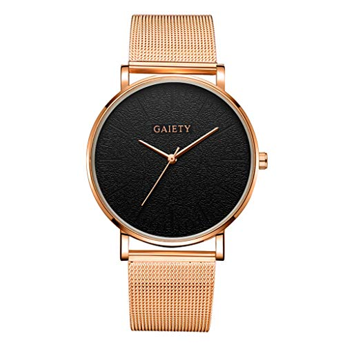 LUCAMORE Mens Analog Quartz Watches Minimalist Ultra Thin Watches for Men with Mesh Stainless Steel Strap - Heart Cell Phone Antenna Charm