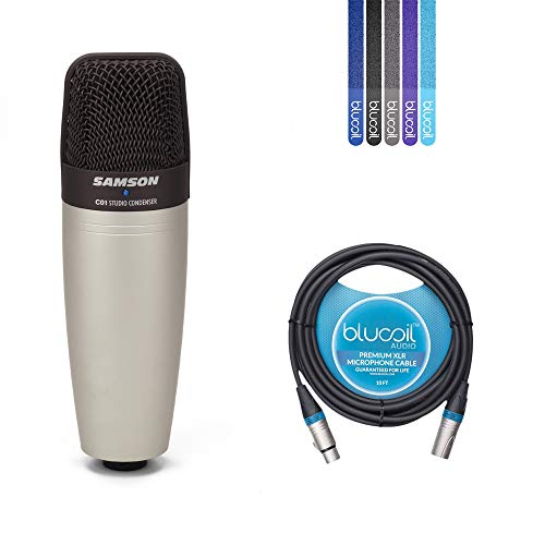 Sams​​on C01 Hypercardioid Condenser Microphone for Studio Recording -INCLUDES- Blucoil 10​-Fft XLR Cable AND 5-Pack of Velcro Cable Ties - Samson C01 Condenser Microphone