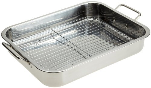 Stainless Steel Heavy Duty 16″ Lasagna / Roasting Pan with Rack