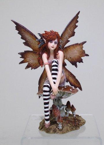 PTC 6.25 Inch Naughty Brown Fairy Sitting on Mushroom Statue Figurine (Mushroom Fairy)