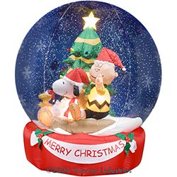 airblown inflatable 6 ft tall charlie brown snoopy snowglobe scene - Charlie Brown And Snoopy Christmas Decorations