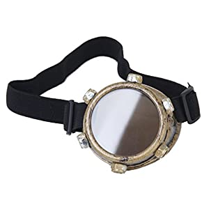 SODIAL Safety goggles Vintage Steampunk goggles cyclops goggles Gothic Cosplay Costume for the left eye (Brass)