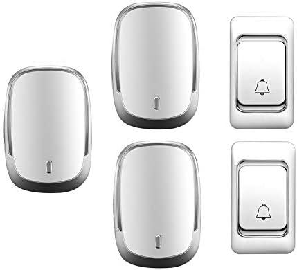 IP44防水ワイヤレスドアベル、ホーム超長距離ドアチャイムキット、2プッシュボタン+3レシーバー、36着メロ、4音量レベル,白