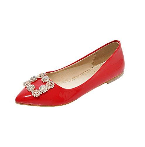 Di Pelle Ballet Punta Donna Rosso Tacco flats Voguezone009 Chiusa Maiale Tirare Basso 1wO5nxzEqx